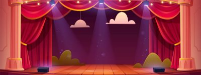 Theater stage with red curtains and spotlights. Vector cartoon illustration of theatre interior with empty wooden scene, luxury velvet drapes and decoration with clouds and bushes